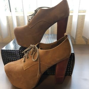 Jeffrey Campbell Lita Taupe Suede Boots 7.5